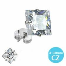 MENS / WOMENS 316L SURGICAL STEEL WITH SQUARE CLEAR CUBIC ZIRCONIA STUD EARRING