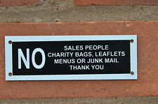 No Sales People Charity Bags Leaflets Menus Junk Mail Sign Or Sticker 120mmx40mm