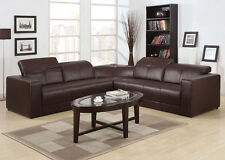 Dark Brown Bonded Leather Odell couch Sectional Sofa with built in speaker&dock