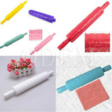#XQA4 Fondant Decorating Cake Rolling Pin Paste Embossing Sugarcraft Mold Tools