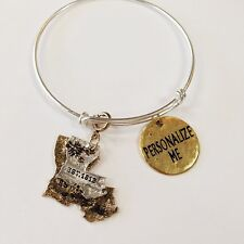 State Charm Sets & Personalized Charm Gold OR Silver Expandable Bangle Bracelets