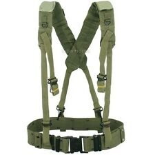 Mens Military Army Style LC2 X Back Suspenders Utility Web Belt OD Green Black