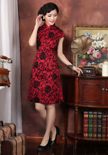 red Chinese women's embroidery evening dress /Cheongsam size 6 -16