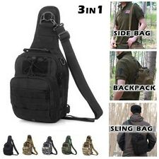Assault Sling Tactical Bag Backpack Single Shoulder Chest Travel Tote With Molle