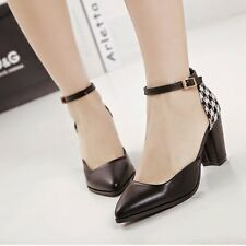 Ladies Women's Block Thick High Heel Pointed Toe Houndstooth Ankle Buckle Shoes