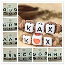 Charms White Alphabet Black Letters 6mm Square Cube Acrylic Loose Beads Jewelry