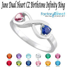 June Dual Heart CZ Birthstone Infinity Sterling Silver Ring Mix Stones!!
