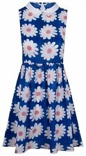 Glamorous Daisy Print Pointed Collar Skater Dress Blue - 8, 10, 12, 14