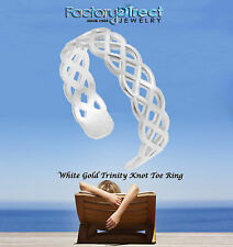 Trinity Knot Toe Ring 10k 14k White Gold Adjustable Irish Celtic Summer Beach