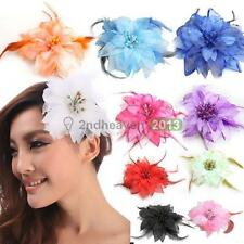 Headdress Flower Feather Belly Dance Hair Pin Brooch Clip Party Wedding     BEST