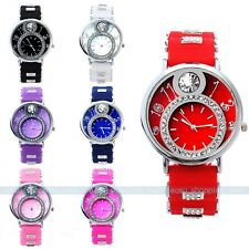 Hot Bling Crystal Lady Women Girl Jelly Silicone Sport Quartz Wrist Watch