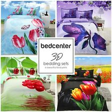 Quilt Duvet Cover Bedding Set Queen 4-Piece Cotton Super Soft 3D Flowers NEW