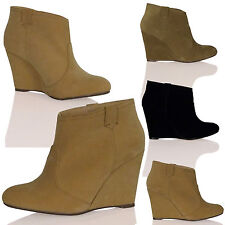 WOMENS SHOES LADIES ANKLE BOOTS PULL ON MID WEDGES HEELS CASUAL OFFICE NEW SIZE