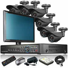 6 x Professional Camera Full D1 8 CH DVR CCTV System Live Viewing with Monitor i
