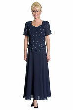Simple Elegant Georgette Dress Beaded and Embroidered Trim Mother of the Bride