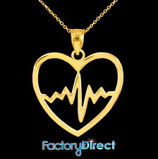 10k 14k Yellow Gold Heartbeat Pulse Pendant Necklace