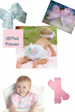 Mud Pie Baby Girl Little Chick Baby Bib & Bloomer + Free Leg Warmers & Bow 0-12M