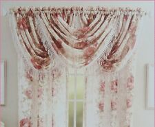 Victorian Rose Crepe Sheer Lace Curtain or Top Valance D-2014-04