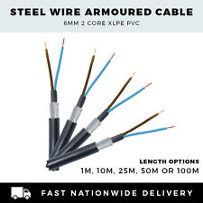ARMOURED CABLE 6MM SWA CABLE 2 CORE SWA CABLE PER METRE,10M, 25M,50M or 100M