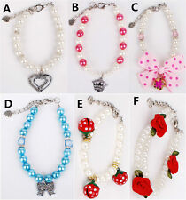 Pet Jewelry Dog Cat Pearls Necklace Collar With Crystal Heart Crown Bow Pendant