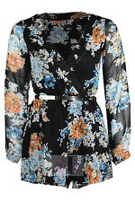 WOMENS LONG SLEEVE  V NECK WRAP CHIFFON LINED FLORAL PRINT BELTED PARTY PLAYSUIT