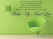 Wall art sticker Quote Wake up and Live Bob Marley wall transfer decal lyrics