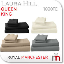 NEW REAL 1000TC EGYPTIAN COTTON KING QUEEN SIZE BED SHEET SET BY LAURA HILL