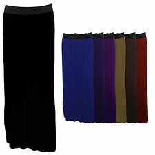 LADIES WOMENS PLAIN FULL LENGTH STRETCHY MAXI GYPSY SKIRT WITH ELASTICATED BAND