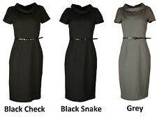 COLLECTION LONDON Womens Ladies Black Grey Cowl Neck Office Dress Sizes 8 - 20