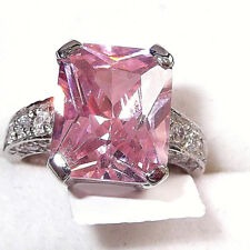 RHODIUM PLATED 925 HALLMARKED STERLING SILVER PINK EMERALD CUT SOLITAIRE RING