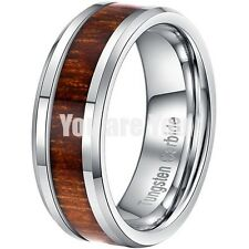 8MM Tungsten Carbide Ring Wood Inlay Mens Promise Wedding Band Size 8-14 & Half