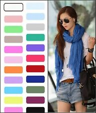 Stylish Women Girls Soft Crinkle Long Candy Colors Cotton Scarf Wrap Shawl Stole