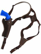 """NEW Barsony Brown Leather Vertical Gun Shoulder Holster for S&W 4"""" Revolvers"""
