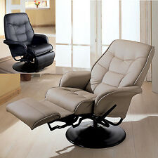 Taupe Black Leatherette Flair Tapered Arms Fully Reclined Swivel Recliner Chair