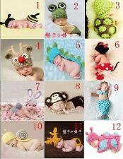 New born Crochet Knit Costume Clothes Photo Photography Hat Outfit Baby Girl Boy