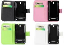 PU Leather Wallet Stand Card Case Cover Skin for Sony Xperia E Dual C1605 C1505