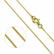 """9ct Yellow Gold Lightweight Fine Diamond Cut Curb Chain 16"""" 18"""" & 20"""" Necklaces"""