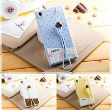 Cute Strawberry Icecream TPU Back Case Cover + Strap for Sony Xperia Z1 L39H