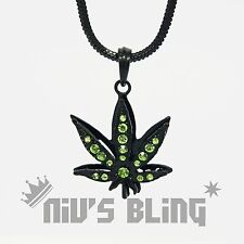 Jet Black Green Stone WEED Marijuana Pendant Necklace Snake Chain Iced Out