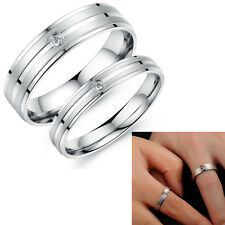 2PC Couple Set Rings Wedding Bands White Titanium Stainless Steel Love Gifts 411