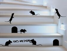 """Mice and Holes, With 1 Mouse Graffiti writing:  """"Kat's Are Stupid"""""""