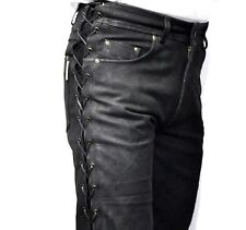 Biker Leather Pants Made Of Real Buff Nubuck Leather Laces On Both Sides
