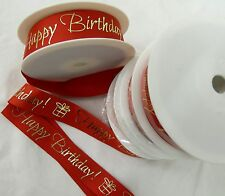 QUALITY GROSGAIN HAPPY BIRTHDAY RIBBON 25MM WIDE VARIOUS LENGTHS AVAILABLE