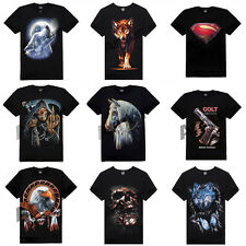 Men's Cotton Creative Print Short-sleeved T-shirt Relaxed-fit Rock Tee Tops