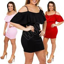 New Womens Ladies Celeb Frill Ruffle Bodycon Off Shoulder Mini Dress Size 8 14 M