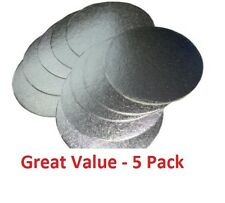 "Pack of 5 Professional Quality Silver Cake Boards 1.8mm Thin Wedding Card 5""-12"""