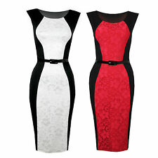 Womens Sleeveless Floral Satin Lace Panel Contrast Stretch Bodycon Party Dress