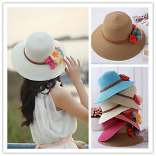 2014 Women Girl 6 Flowers Cap Wide Large Brim Summer Beach Straw Sun Hat 0066