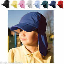 Kids Junior Fold Up Legionnaire Sun Hat Cap Shade Neck Flap Kepi Cotton 4-12 yrs