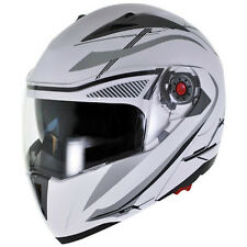 NEW Flat/Matte White Modular Flip Up Dual Visor DOT Motorcycle Helmet - S/M/L/XL